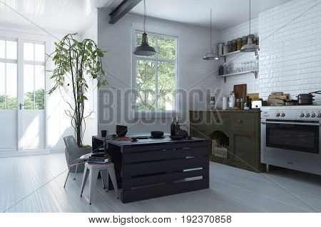 Bright spacious modern open plan kitchen and dining room with a large stove and loose cabinets and a modern black table with chair and stool in a trendy apartment with large windows. 3d Rendering.