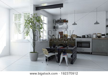 Modern spacious monochromatic open plan kitchen interior with an electric stove and cabinets piled with kitchenware and a small black table with chairs in front of bright windows. 3d Rendering.