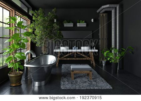 Dark bathroom interior concept with shiny metal freestanding bath, lots of green potted plants and huge windows. 3d Rendering.