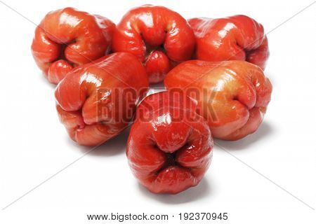 Fresh Watery Rose Apples on White Background