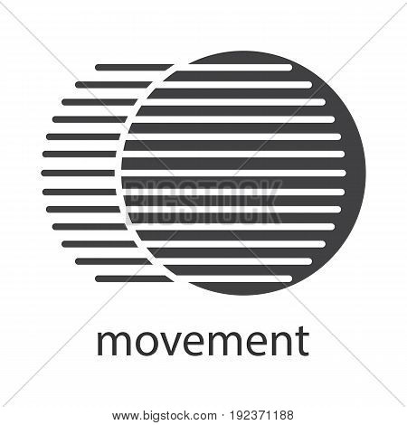 Movement glyph icon. Silhouette symbol. Dynamic motion concept. Negative space. Vector isolated illustration