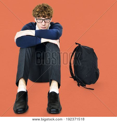 Student young man stressed unhappy failed alone