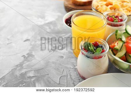 Nutrient breakfast on light table