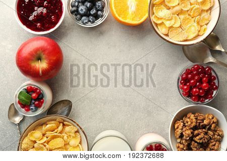 Delicious breakfast on light background, top view