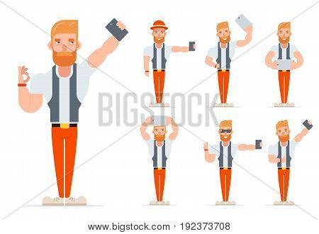 Selfie Geek Hipster Casual Character Icons Cartoon Set Isolated Vector illustration