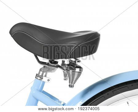 Seat of modern bicycle on white background, closeup