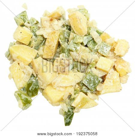 Closeup Potato Salad Over White no bowl no plate. With green bell peppers.