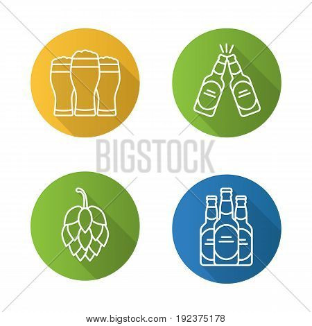 Beer flat linear long shadow icons set. Hop cone, beer bottles and glasses. Vector line symbols