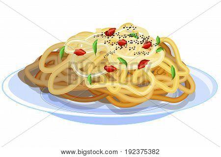 Macaroni. Spaghetti. Vermicelli. Pasta. Pasta in plate.