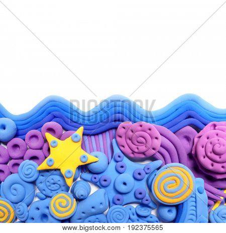 Sea. Colored decorative ornament, made in modeling techniques from plasticine