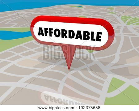 Affordable Housing Real Estate Building Property Map Pin 3d Illustration