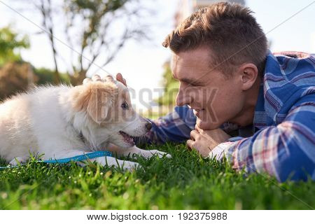 Pet owner bonding with puppy in park on grass, playing petting affection love best friends commitment relationship