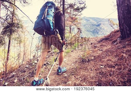 Hiking in famous Lycian Way in the Turkey. Backpacker in the trail.