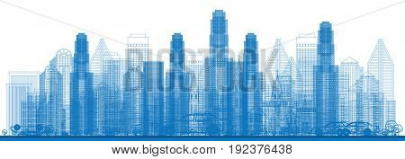 Outline Skyline with City Skyscrapers.