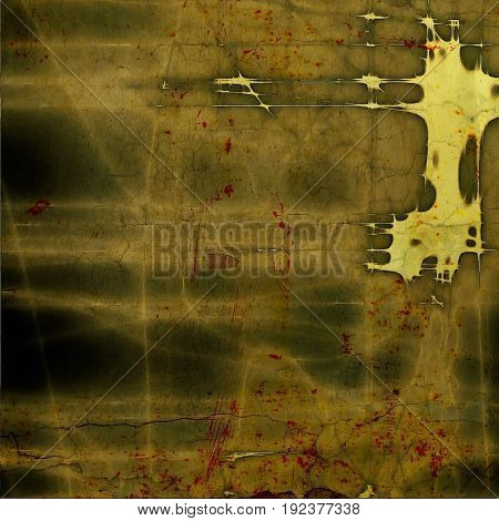 Old grunge background or aged shabby texture with different color patterns: yellow (beige); brown; gray; green; red (orange)