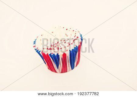 Union Jack cupcake against white background
