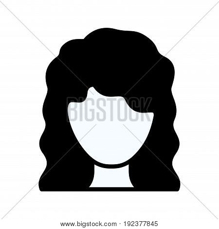 black silhouette thick contour of faceless woman with wavy medium hairstyle vector illustration