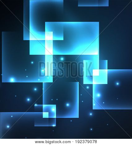 Dark background design with blue shiny glowing effects, lines and glass squares