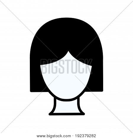 black silhouette thick contour of faceless woman with short hair vector illustration