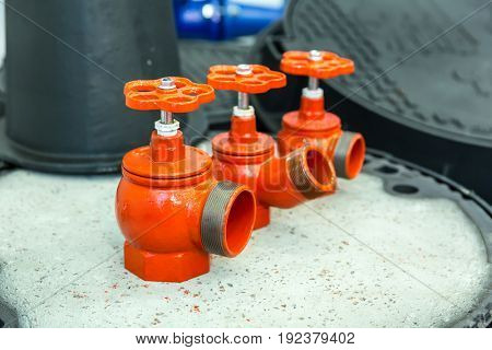 Red valves closeup, new pressure controllers