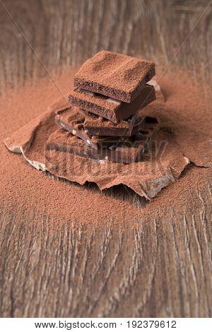 Pyramid of milk chocolate sprinkled