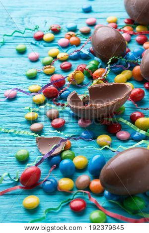 Sweets, eggs made of chocolate
