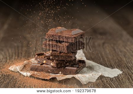 Chocolate with nuts sprinkled cocoa