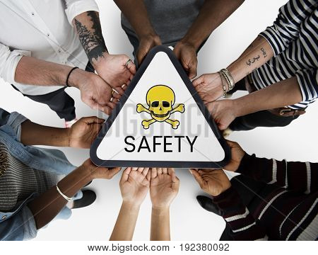 Group of people with skull icon and toxin dangerous word poster