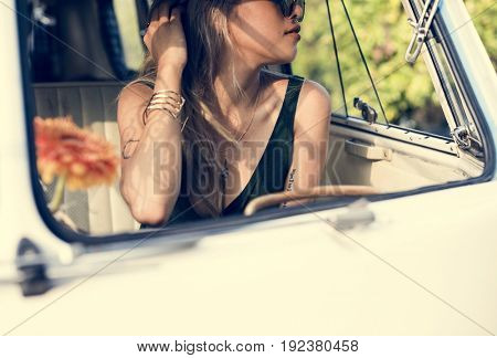 Woman Sitting in Front Seat of The Car Road Trip Travel