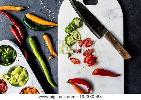 Different kinds of chili cutting board and knife