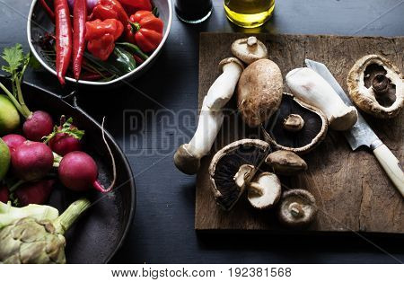 Variation kinds of vegetable on a table