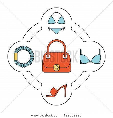 Woman's handbag contents color icons set. Swimsuit, bra, high heel shoe, hair scrunchy. Isolated vector illustrations