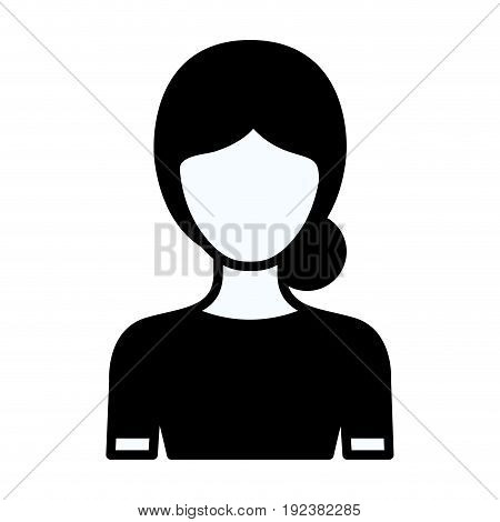 black silhouette thick contour of faceless half body woman with bun collected hairstyle vector illustration