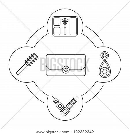 Woman's clutch contents linear icons set. Gemstone necklace, earring, hair brush, blusher. Isolated vector illustrations
