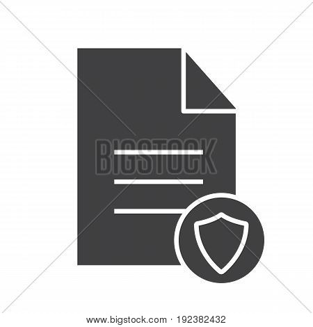 Personal document security glyph icon. Silhouette symbol. Document with protection shield. Negative space. Vector isolated illustration