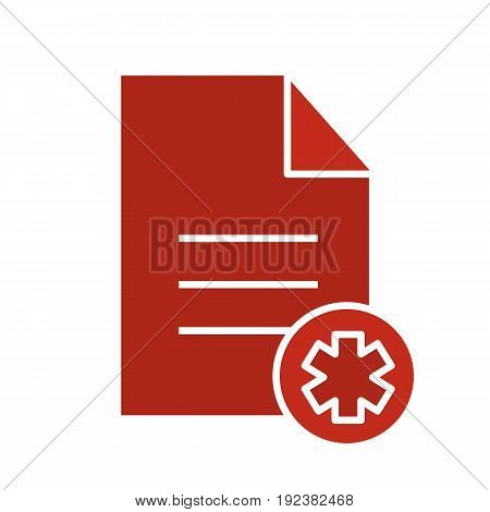 Patient card glyph color icon. Medical insurance. Text file with star of life. Silhouette symbol on white background. Negative space. Vector illustration