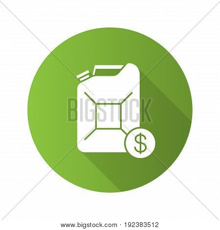Petrol trade flat design long shadow glyph icon. Petroleum jerrycan with dollar sign. Vector silhouette illustration