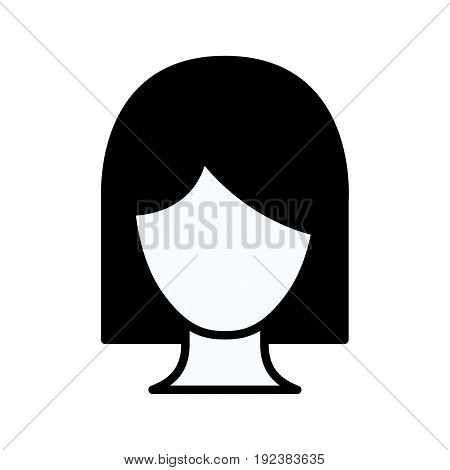 black silhouette thick contour of front view faceless woman with short hair vector illustration