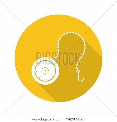 Tea ball infuser flat design long shadow glyph icon. Tea filter. Vector silhouette illustration