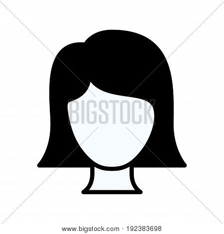 black silhouette thick contour of front view faceless woman with straight short hair vector illustration