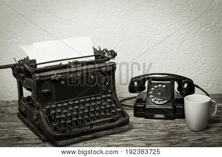 Vintage office desk table nobody business equipment
