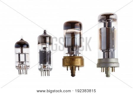 Glass vacuum electron tubes isolated on white background