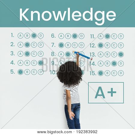 Young girl working on network graphic overlay background