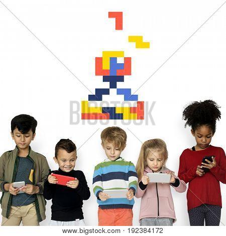 8 bit illustration of arcade game joystick icon
