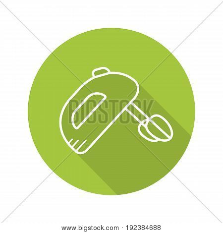 Hand mixer flat linear long shadow icon. Vector outline symbol