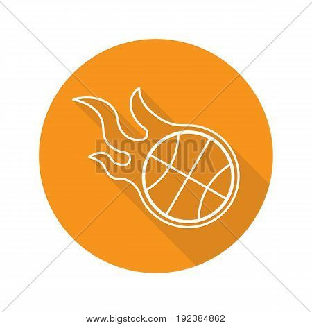 Burning basketball ball. Flat linear long shadow icon. Vector outline symbol