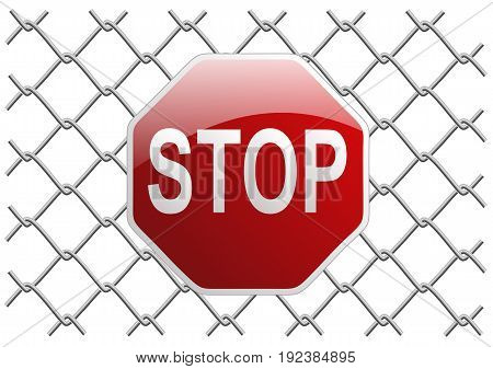 metal mesh fence as a background or object tryde with stop sign