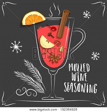 Vector illustration of mulled wine. Hand drawn wineglass with seasoning and fruits on black background.