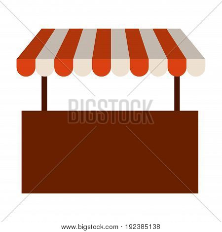 colorful silhouette image of store with striped awning vector illustration