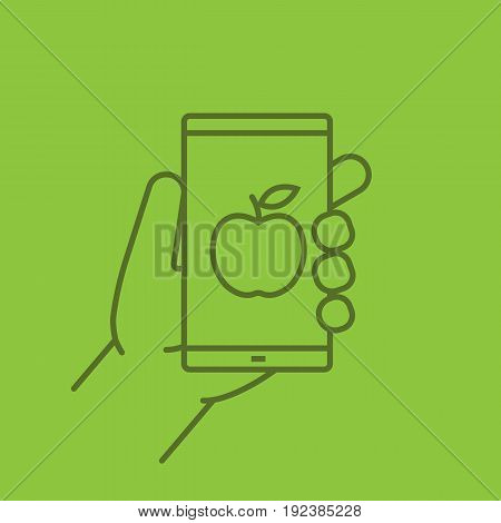 Hand holding smartphone color linear icon. Smart phone dieting app. Thin line outline symbols on color background. Vector illustration